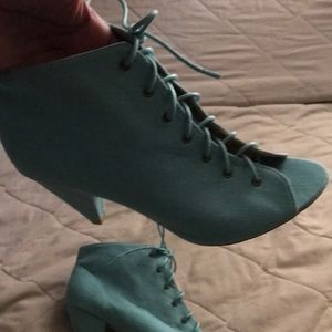 NWT turquoise lace up peep toe booties linen like